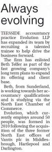 Beth appointment release. Evening Gazette page 12 26.3.13