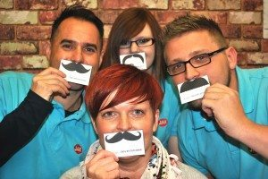 North East printing firm, JAK, lanch tache-tastic campaign, Movember, prostate and testicular cancer, charity, raise awareness, North East, PR, press shot, Harvey & Hugo
