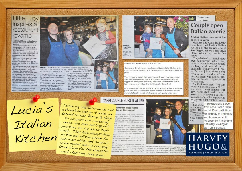 Lucia's Italian Kitchen, Yarm, Stockton-On-Tees, coverage, press release, press shot, North East press, launch, restaurant, PR, Harvey & Hugo
